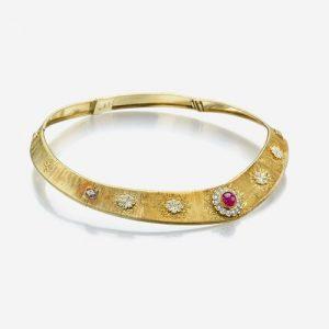 An eighteen karat gold, ruby, and diamond necklace, Buccellati Italy