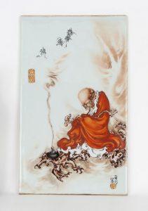 Wang Bu, Iron Red Painted Louhan Porcelain Plaque
