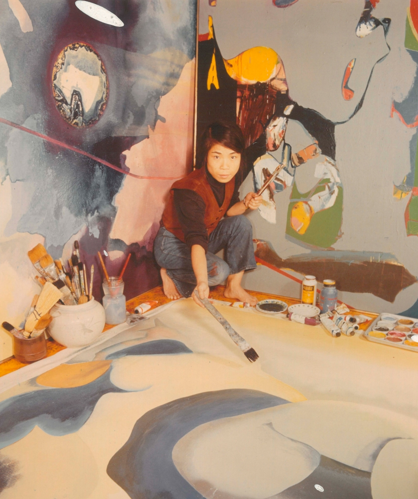 Choi Wook-kyung in her studio in 1971. Image courtesy of the artist's estate/ Kukje Gallery.