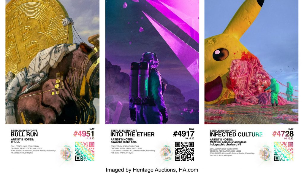 Beeple_The_Everydays_The_2020_Collection_three_works_2020_Heritage_Auctions