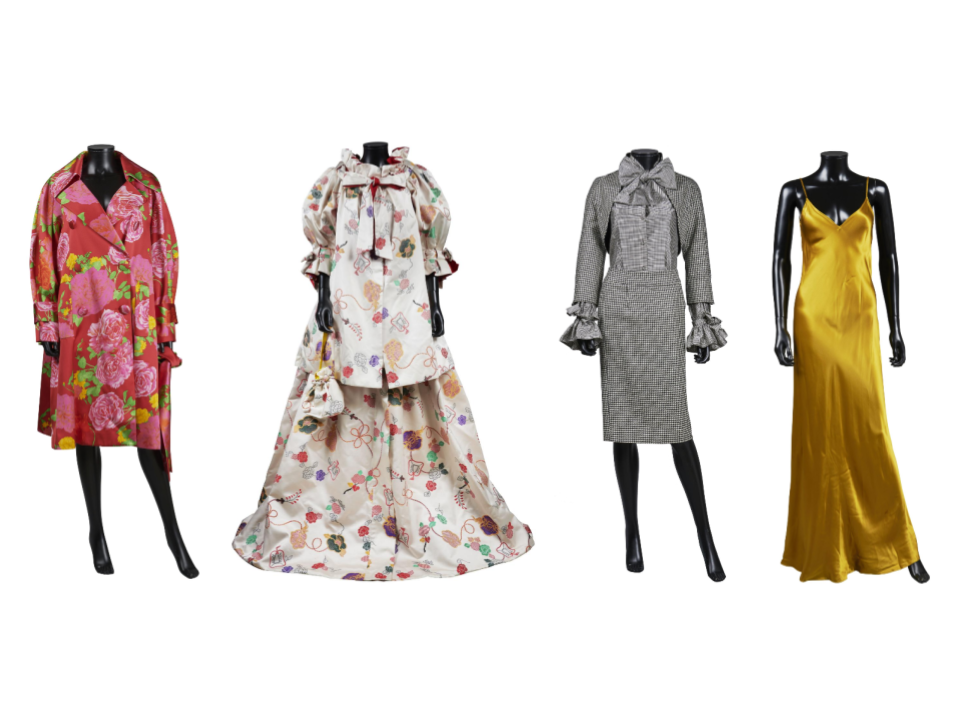 Lots available in Kenzo Takada Creations Online timed sale. Left to right: Lot #117, Lot #82, Lot #31, and Lot #84. Images from Artcurial.