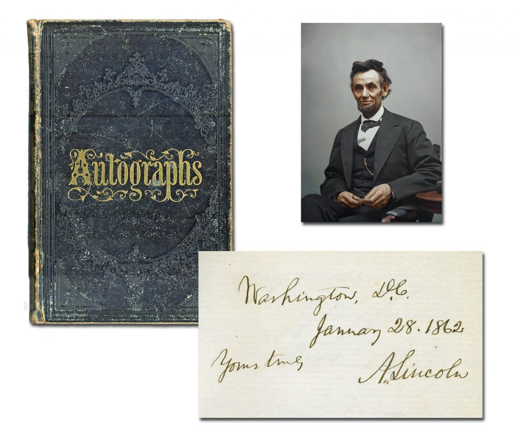 Victorian autograph album containing the signature of Abraham Lincoln and 226 members of his administration and Congress, including future President Andrew Johnson (est. $12,000-$14,000).