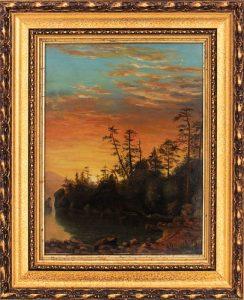 Sanford Gifford Landscape at Sunset Oil on Board