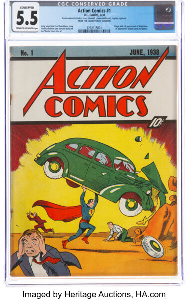 Copy of Action Comics #1 offered by Heritage Auctions. Image from the auction house.