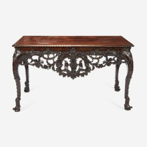 A George II Carved Mahogany Console Table Possibly after a design by Matthias Lock, first half 18th century