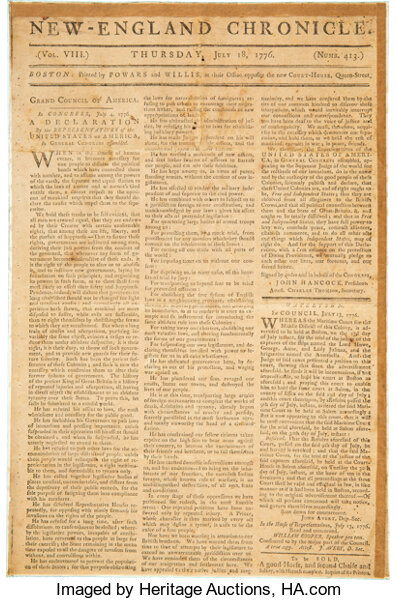 [Declaration of Independence]. The New-England Chronicle. Volume VIII. Numb. 413. Boston: Powars and Willis
