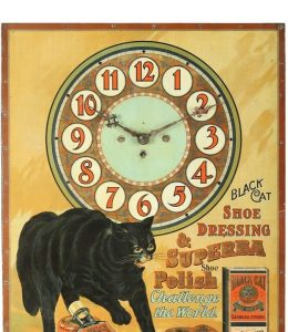 Rare And Important Black Cat Shoe Dressing Clock Rings Up $11,210 (Canadian) In Miller & Millers Advertising & Breweriana Auction