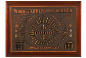 Winchester 1884 cartridge board, certainly the rarest of all of the cartridge boards issued by Winchester, measuring 28 inches by 38 inches (CA$100,300).