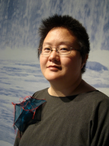 Jiyoung Chung with a mixed-media sculpture. Image from the artist.