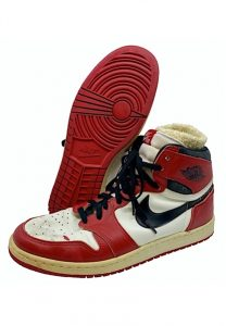 1984-85 Michael Jordan Chicago Bulls rookie game-used and dual-autographed Jordan 1 shoes gifted by MJ to his favorite UNC photographer Robert Crawford in locker room after Bulls/Pacers game. Full JSA LOA and LOA from photographer.