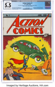 Copy of Action Comics #1 available from Heritage Auctions. Image from the auction house.