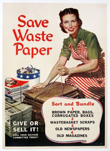 American paper drive propaganda from World War II. Image from Sarah Sundin.