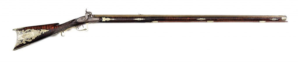 Beautifully decorated Kentucky-style percussion rifle recently discovered with consignor provenance stating it once belonged to a Dr. Emmanuel Meyer (b. 1818, Basel, Switzerland; later a surgeon in Texas). Family ownership since the 1840s. Estimate $30,000-$50,000