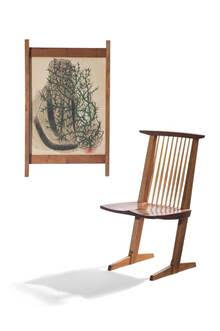 George Nakashima (American, 1905-1990). Frame & Set of Six Conoid Dining Chairs