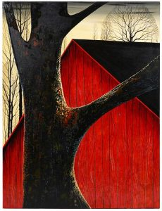 Eyvind Earle 'This Old Barn' Oil on Board