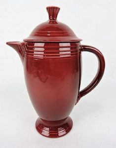 Vintage maroon coffee pot. Image from Strawser Auctions/Liveauctioneers.com.