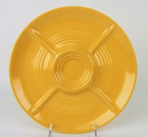Vintage yellow relish tray. Image from Strawser Auctions/Liveauctioneers.com.