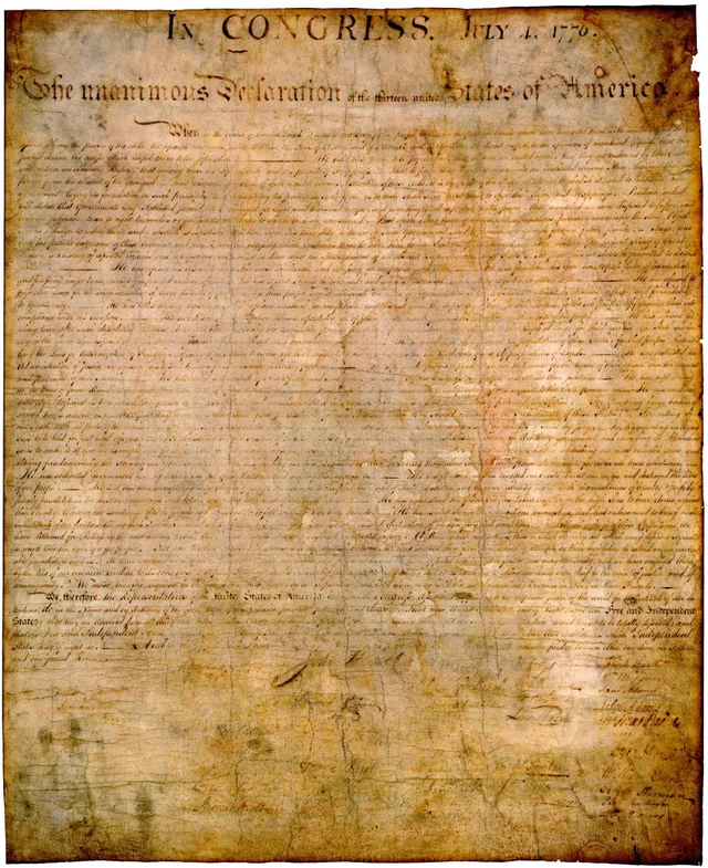 Original Declaration of Independence. Image from the National Archives and Records Administration.