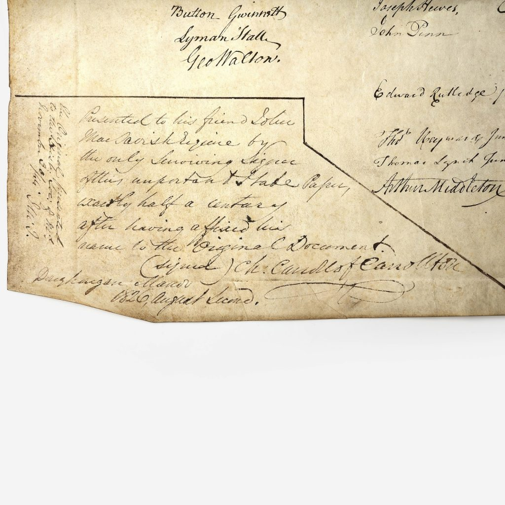 Detail from the copy of the Declaration of Independence on offer from Freeman's. Image from the auction house.