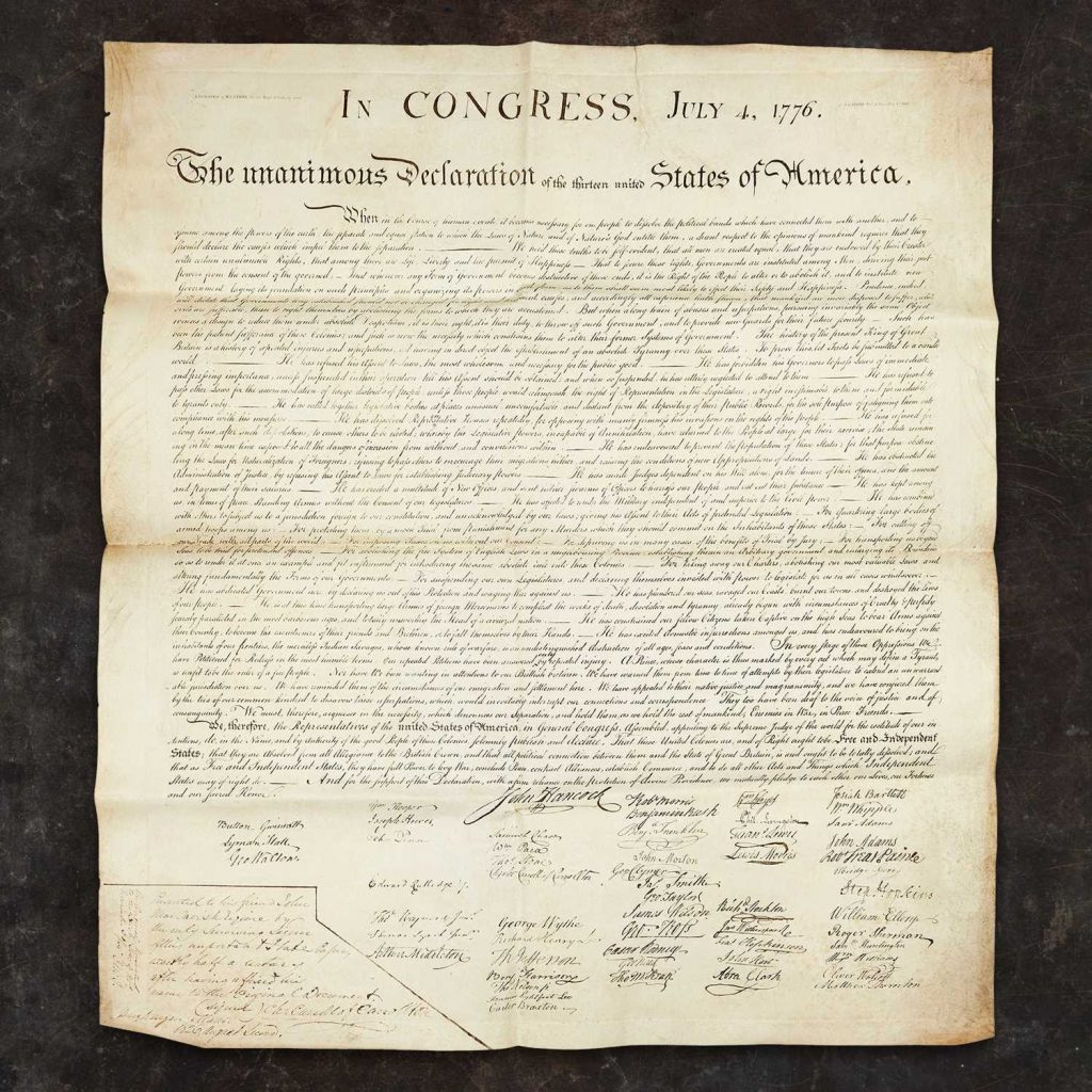 Copy of the Declaration of Independence presented to Charles Carroll of Carrollton in 1824. Image from Freeman's.