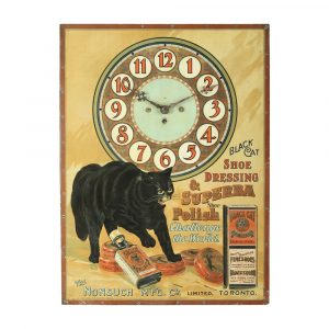 """Important Black Cat Shoe Polish clock (known to collectors as """"The Black Cat Clock""""), one of the most significant examples of Canadian advertising ever produced (est. CA$9,000-$12,000)."""