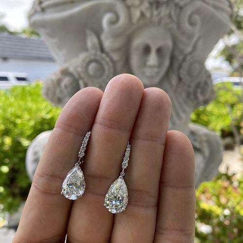 GIA 10.65ct Diamond and 18K Earrings