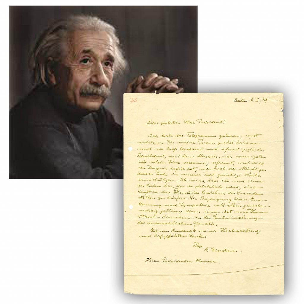 Typed letter written in German and signed by Albert Einstein to President Herbert Hoover in 1929 after receiving Hoover's congratulatory 50th birthday message (est. $50,000-$55,000).