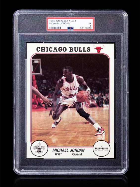 1985 Interlake Boy Scout Michael Jordan Rookie Basketball Card PSA 5. Image from Hindman.