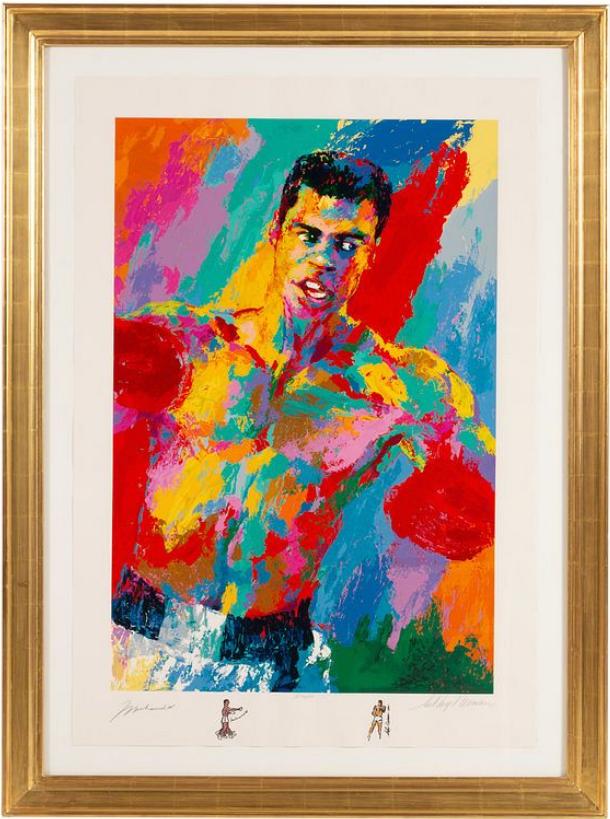 LeRoy Neiman's portrait of Muhammad Ali, Athlete of the Century, 2001. Image from Hindman.