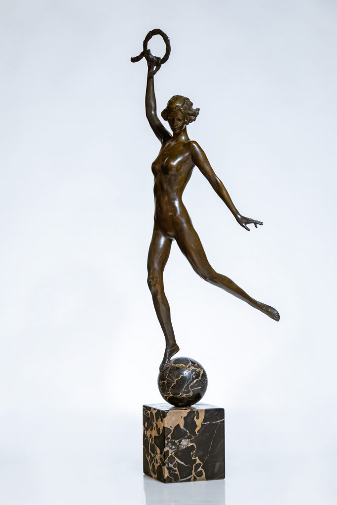Bronze sculpture by Janet Scudder (American, 1873-1940), titled Victory, signed, 31 ½ inches tall. Estimate: $15,000-$25,000.