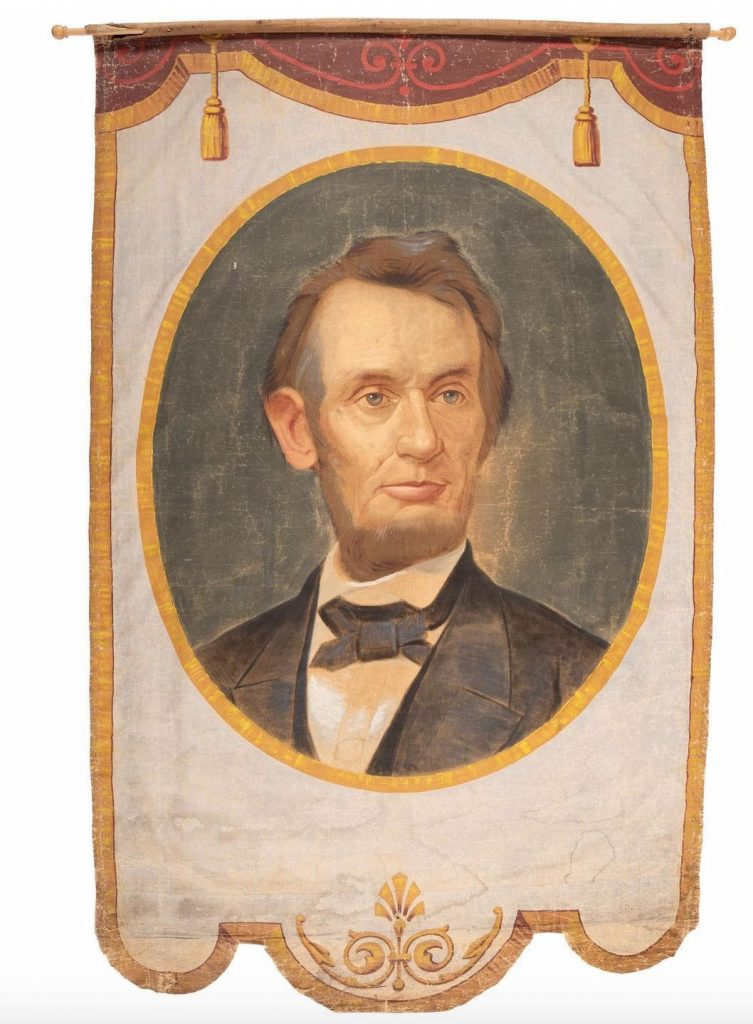Lot #296: Abraham Lincoln banner, possibly made for the 1864 presidential campaign. Photo from Cowan's Auctions.