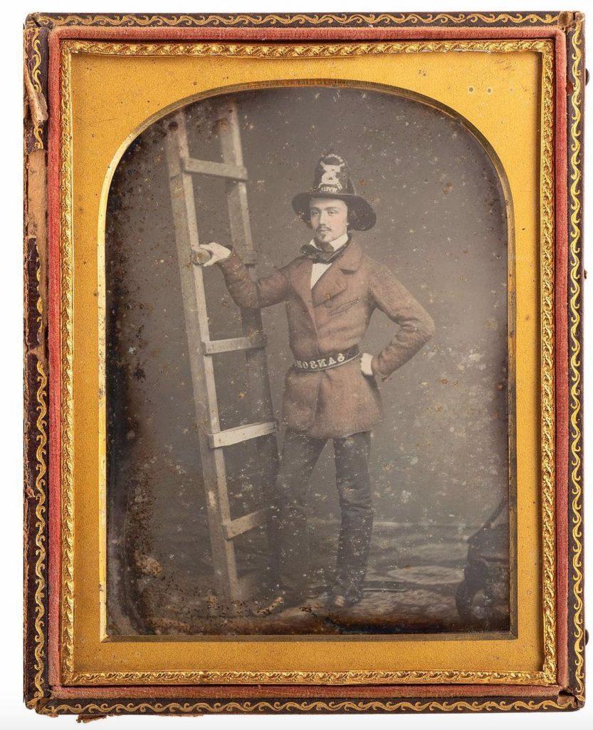 Lot #245: Half plate daguerreotype of firefighter Walter Van Erven Dorens. Photo from Cowan's Auctions.