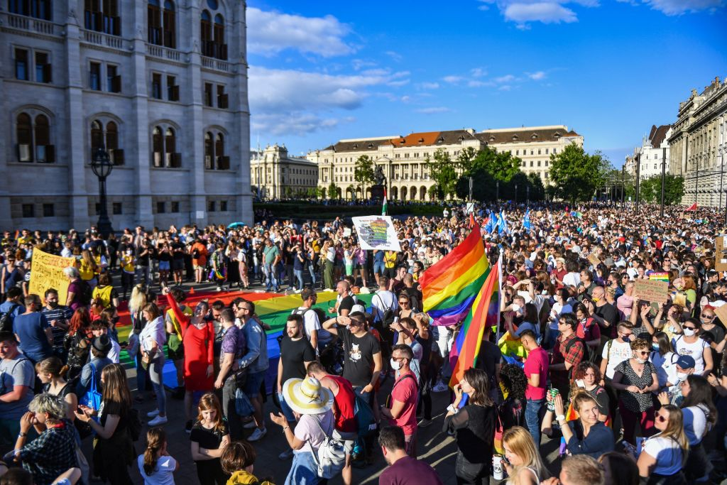 Demonstrators near Hungary's parliament building in Budapest in June of 2021. Image from Gergeley Besenyei/AFP via Getty Images.