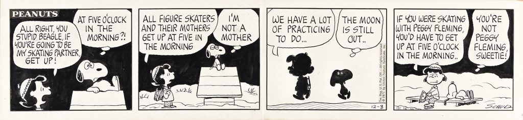 Charles Schulz, All right, you stupid beagle, if you're going to be my skating partner, get up!, original four-panel Peanuts comic strip, pen and ink, 1971. Estimate $15,000 to $25,000.