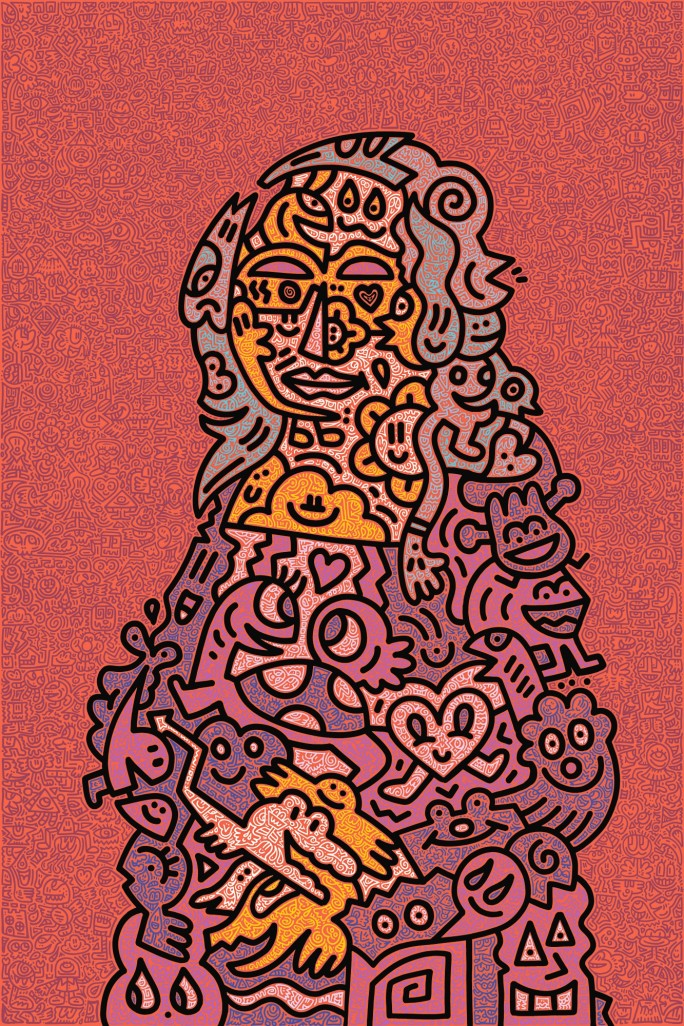 Mr. Doodle, Mona Doodle, 2019. Image from Sotheby's.