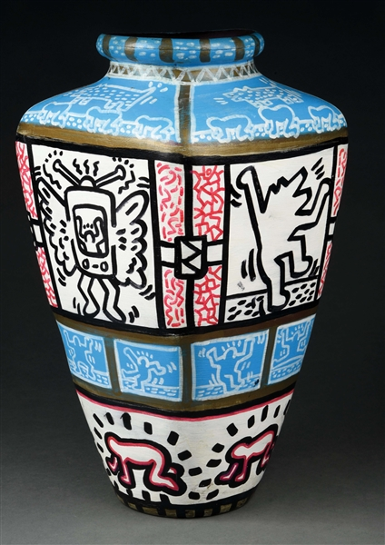 Rare and important double-signed Keith Haring vase featuring some of the artist's iconic motifs, including crawling baby and dancing man. Height: 15½ inches. Provenance: Scottsdale, Arizona private collection. Sold for $84,000 against an estimate of $20,000-$30,000