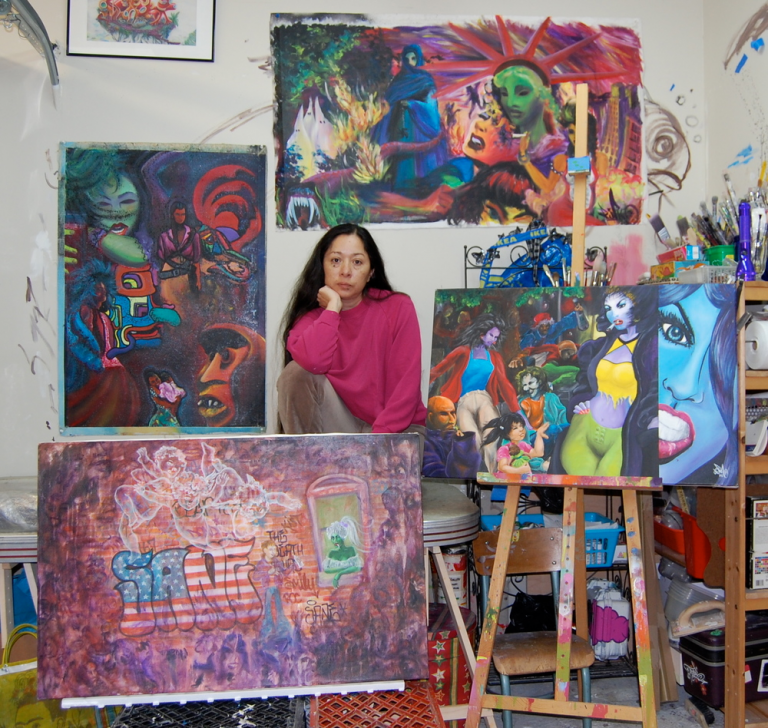 Lady Pink with her work. Image from the artist.