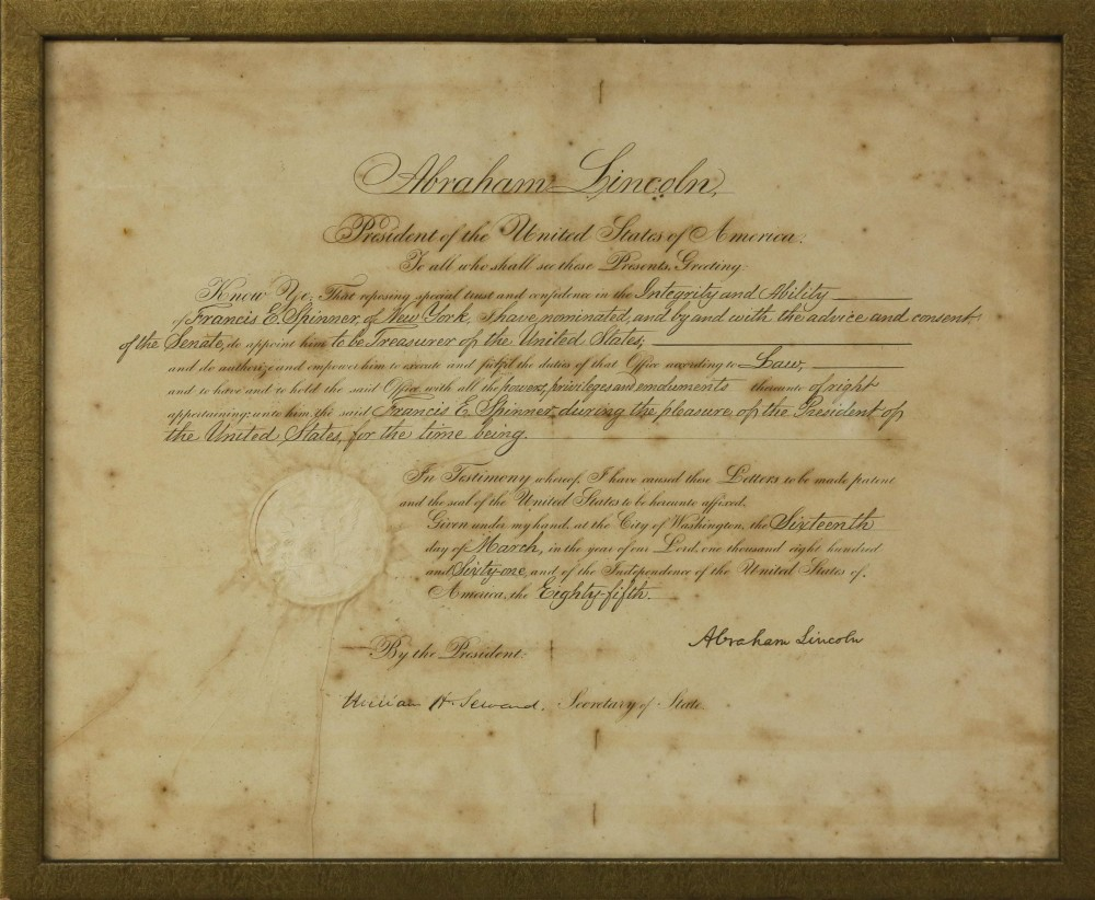 Civil War document signed by then-President Abraham Lincoln in 1861, naming Francis E. Spinner as U.S. Treasurer, a post he held until 1875. Estimate: $4,000-$6,000.