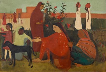 Amrita Sher-Gil (1913 - 1941), In the Ladies Enclosure, 1938. Image from Saffronart.
