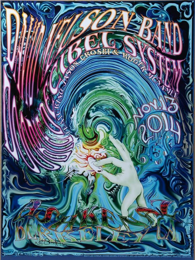 David Nelson Band Doobie Decibel System concert poster designed by Lee Conklin, 2014. Image from Turner Auctions + Appraisals.