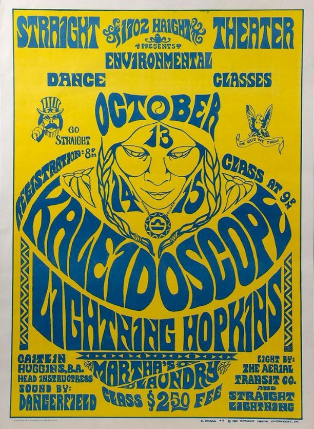 C. Braga poster for a Lightning Hopkins concert, 1967. Image from Turner Auctions + Appraisals.