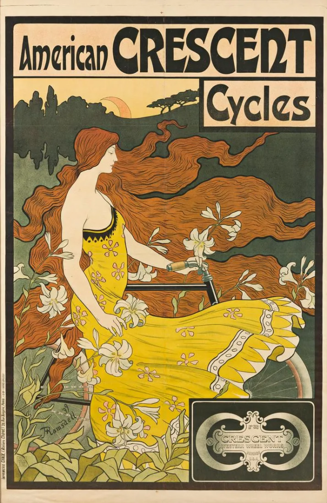 Frederick Winthrop Ramsdell poster for American Crescent Cycles, 1899. Image from Swann Auction Galleries.