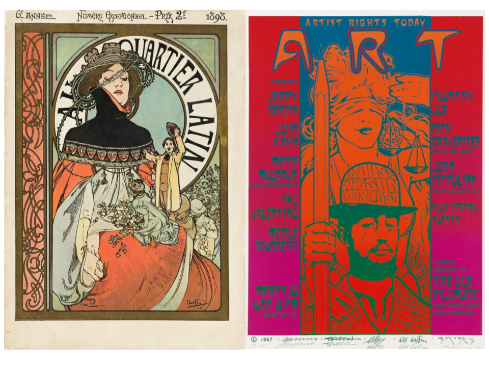 Left: Alphonse Mucha, Au Quartier Latin magazine cover, 1898. Right: poster from various artists with Artists Rights Today, 1986-1987. Images from Swann Auction Galleries.