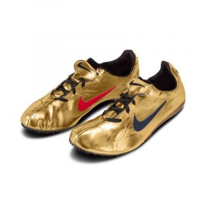Michael Johnson Worn and Dual Signed Nike Gold Shoe