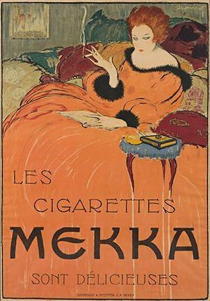 Charles Loupot, Les Cigarettes, Mekka, 1919. Estimate $15,000 to $20,000.