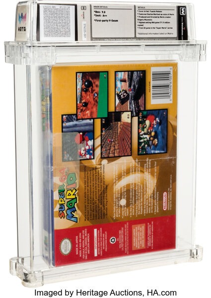 Back of the record-breaking copy of Super Mario 64. Image from Heritage Auctions.