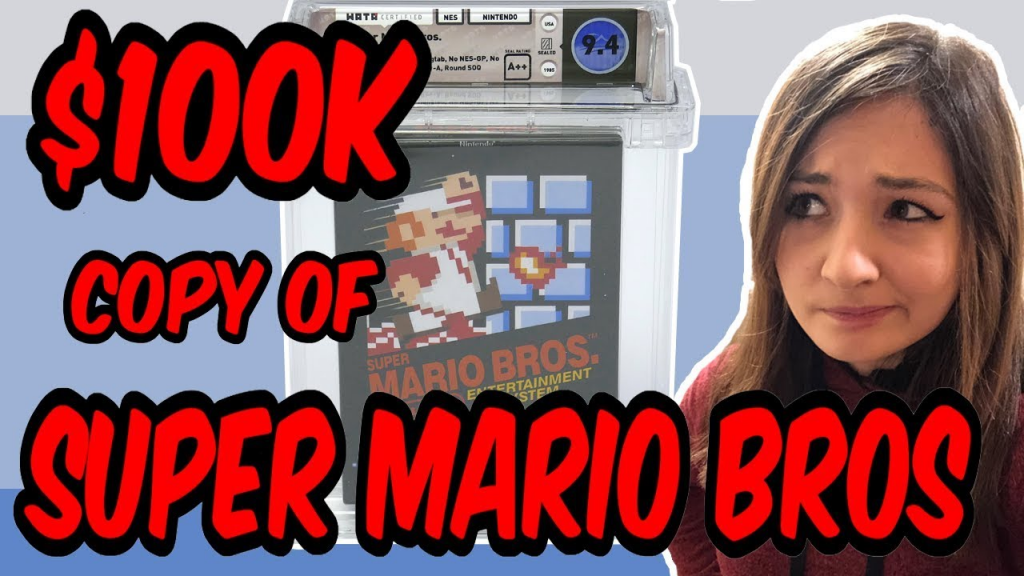 Video game historian Kelsey Lewin looks at a $100,150 copy of Super Mario Bros. Image from Kelsey Lewin's YouTube page.