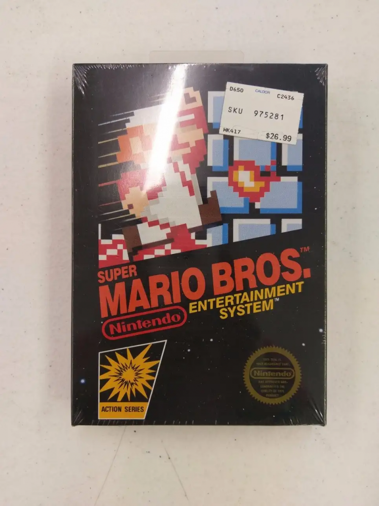 Copy of Super Mario Bros. for the Nintendo Entertainment System that sold for over $30,000. Image from eBay.
