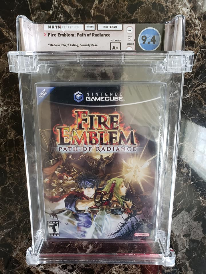 A copy of Fire Emblem: Path of Radiance with a 9.4 out of 10 Wata grade. Image from Squeaks Game World.