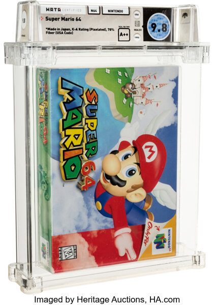 Copy of Super Mario 64 that set a new record for a video game at auction. Image from Heritage Auctions.